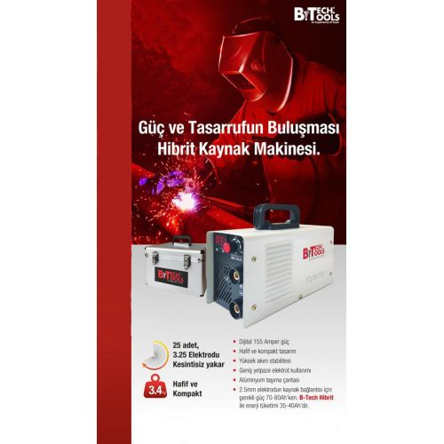 B-TECH 500212 Hybrid Kaynak Makinesi 155 Amper